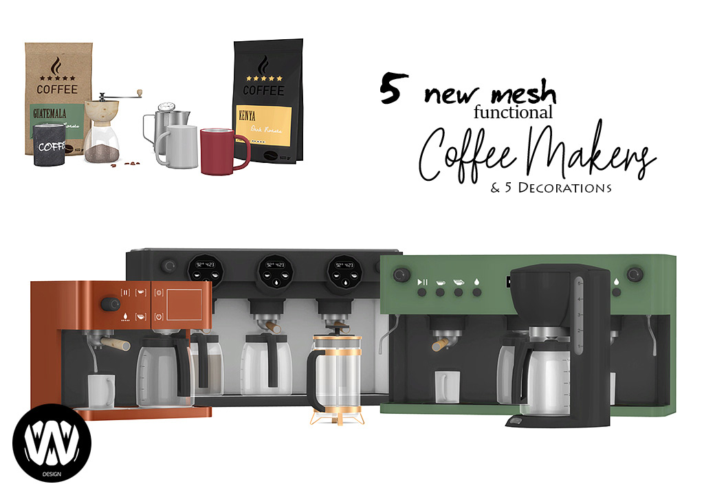 Coffee Makers | Sims 4 Custom Content | Wondymoon